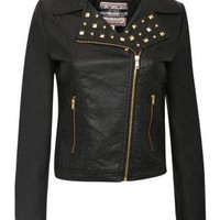 Studs PU Biker Jacket - by Pilot
