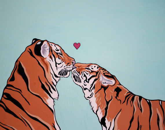 $20.00 Tigers Kissing PRINT 8 x 10 by Mandawlfe on Etsy