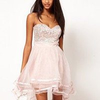 Lipsy VIP Embellished Organza Dip Hem Dress at asos.com