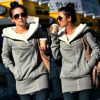 Fashion Lady's Korean Zippers Long Hoodie Biker Sweater Jacket Coat Women's Tops