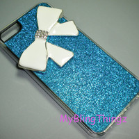 For iPhone 5 - BIG White Crystal Bling Cute Bow on Blue Glitter Sparkle Case Cover Shell