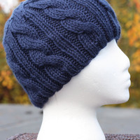 Knitted Hat - Cable Beanie in Dark Country Blue - Acrylic Yarn