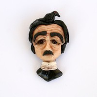 Edgar Allan Poe with Raven - OOAK Polymer Clay Art Pin Brooch