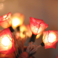 20 Romantic valentine white pink roses handmade flower wedding string light party patio function deco natural leaf