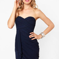 Midnight Masquerade Strapless Navy Blue Dress