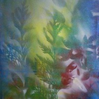 Coloured Abstract Nature Painting - Acrylic on Canvas, in Abstract Nature Paintings