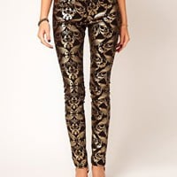 ASOS Skinny Jeans In Metallic Baroque Print at asos.com