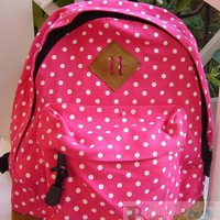 NEW Arrival Feb Children CAVANS Rose red Polka SCHOOL SMALL BACKPACK 2 ZIPPERS