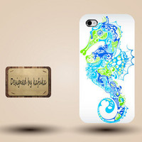 Iphone case, Iphone 4 case, Iphone 4s case, Iphone 5 case, unique handmade hard Plastic case,blue ,sea horse,p 205