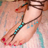 Wedding Boho Hippie crochet barefoot sandals hand beaded with turquoise stones and beads