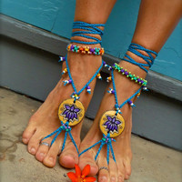 yellow TRIBAL LOTUS BAREFOOT sandals beach Yellow Wedding blue slave anklet hippie yoga Dance foot jewelry bohemian shoes made to order