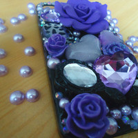 Iphone 4 and Iphone 4s case.Himegyaru case.DIY princess purple jewel rhinestone anna sui kawaii case.rose and jewelry case art.