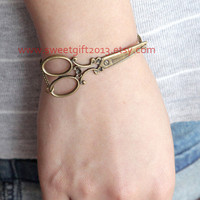 scissors brass bracelet, vintage style victorian scissors brass bracelet, with a lovely flower
