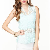 A'GACI Lace Deep V Peplum Top - New Arrivals