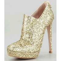 Miu Miu Zip-Back Glitter Bootie