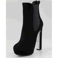 Miu Miu Suede Glitter-Sole Bootie