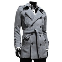 TheLees Mens double belted trench coat
