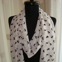 long, white, chiffon shawl - scarf with black cats, kittens
