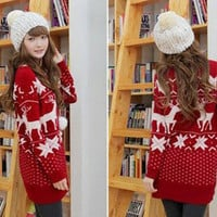 BEST SELLER CHRISTMAS SNOW Elk PATTERN LONG SLEEVE CREWNECK Jumpers WF-3661-RD-F