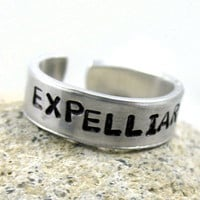 Expelliarmus - Harry Potter Ring - Hand Stamped, Adjustable, Customizable