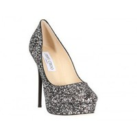 Jimmy Choo Silver Glittery Cosmic Platform Pumps