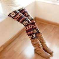 Colorful Stripes Snow Patterns Elastic Dry Acrylic Long Trousers For Women China Wholesale - Sammydress.com
