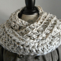 Infinity Scarf Cowl Long Chunky Oatmeal