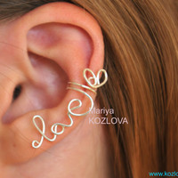 Cartilage ear cuff LOVE word with a Heart - silver plated