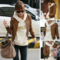 Ladies Korean Fashion Faux Leather Zip Up Short Coat Jacket Brown Black