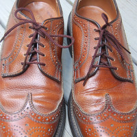 Vintage Brown 50s 60s Dexter Wingtip Oxfords Longwing Brogues Shoes Size Mens 7 D Womens 9 M