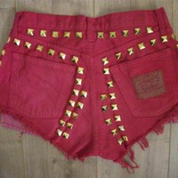 Genuine Levi Vintage Size10 Studded High Waisted Waist Denim Shorts Cut Offs