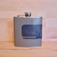 Moby Dick- Vintage Whale Illustration on Gravel 6 oz Stainless Steel Hip Flask