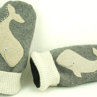 Mittens Whale Recycled Felt Mittens Fleece Lined Mittens Grey Beige and WhiteWhale Applique Leather Palm Eco Friendly Size M-M/L