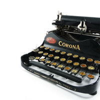 1910s Corona 3 typewriter - black and gold folding portable
