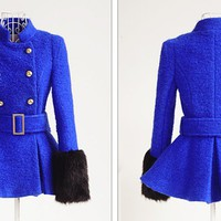 Hot sell blue fashion and elegant lady coat_Fashion Coats_Mili fashion Trade Co.Ltd