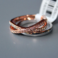 18k white and rose gold plated stacking ring from secret charm,top quality clear crystal inserted,well polished and anti-tarnis,size 8