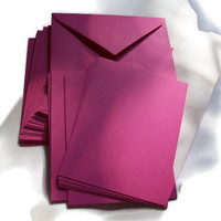 "Stationery Set, Note Cards with matching envelopes, Invitations, Blank Cards, 25, 4""x5"", double sided, Fuschia"