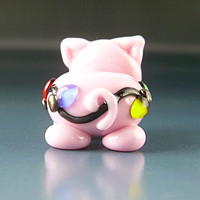 Piglit Handmade Lampwork Glass Pig with Christmas Lights Focal Bead sra Gelly