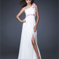 A-line Floral One-shoulder Side Slit Chiffon Open Back White Prom Dress PD1592