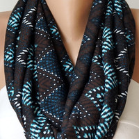 Infinity Scarf Loop Scarf Circle Scarf Cowl Scarf Brown and Blue chevron jersey cowl