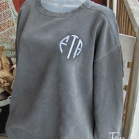 Monogrammed Sweatshirt Fall Colors Circle Monogram Embroidery Gift