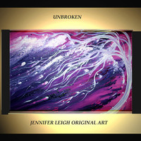Original Large Abstract Painting Modern Contemporary Canvas Art Purple Violet White Tree UNBROKEN 36x24 Palette Knife Texture Oil J.LEIGH