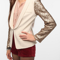 Line & Dot Embellished Sleeve Blazer