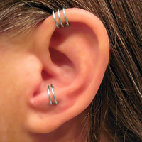 "Sale 2 Cuffs No Piercing Handmade 1 Helix Cuff Ear Cuff ""Triple Loops""  & 1 Anti Tragus Cuff ""Simple Loops"" Gunmetal"
