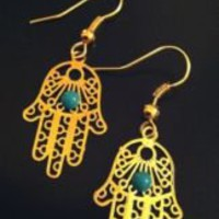 Hamsa Hand of God Gold Colored Earrings Kabbalah Evil Eye Middle Eastern Jewelry | eBay