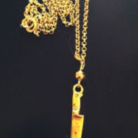 Gold colored KNIFE Necklace with Chain &amp; Pendant - Unique Kawaii Jewelry | eBay