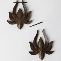 Coco Loco Wooden Lotus Earrings - Brown - Punk.com