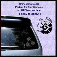 Snowflake Rhinestone Decal SET of 3 perfect for hard surfaces like Glass Laptops Tumblers Winter Holiday Rhinestone Window Decal Sticker
