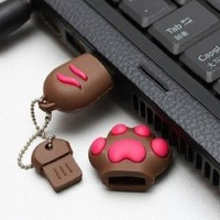 8GB Cute Kitten Cat&#x27;s PAW High Speed USB 2.0 High Speed Flash Pen Drive Disk Memory Stick Choice of 4GB 8 GIG 8GB 16Gb 32GB Support Windows and Mac OS Shock Proof Great Gift (Ricco 05-017) (8GB BROWN): Amazon.co.uk: Computers &amp; Accessories