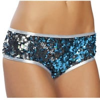 Sexy Burlesque Silver Sequined Low Rise Booty Hot Shorts by Shirley of Hollywood
